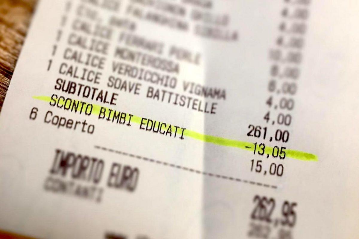 A Padova in un locale si premiano i genitori dei bambini educati attraverso uno sconto
